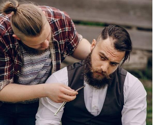 Men's hairs split ends